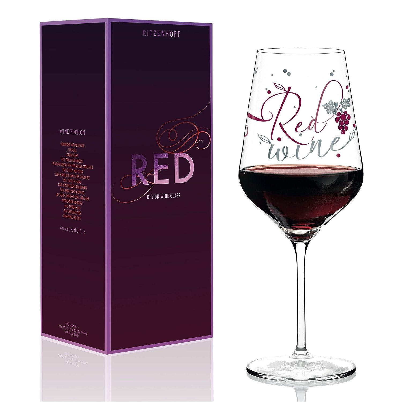 RITZENHOFF Red Rotweinglas von Kathrin Stockebrand 580 ml aus Kristallglas mit edlen Platinanteilen