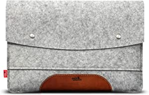 Pack & Smooch Case Sleeve for MacBook Air 13 - 100 % Merino Wool Felt and Pure Vegetable Tanned Leather Made in Germany - Gray/Light Brown