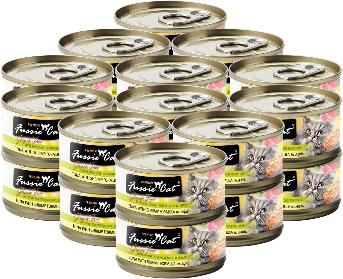 Fussie Cat Premium Tuna with Shrimp in Aspic Grain-Free Wet Cat Food 2.82oz, case of 24