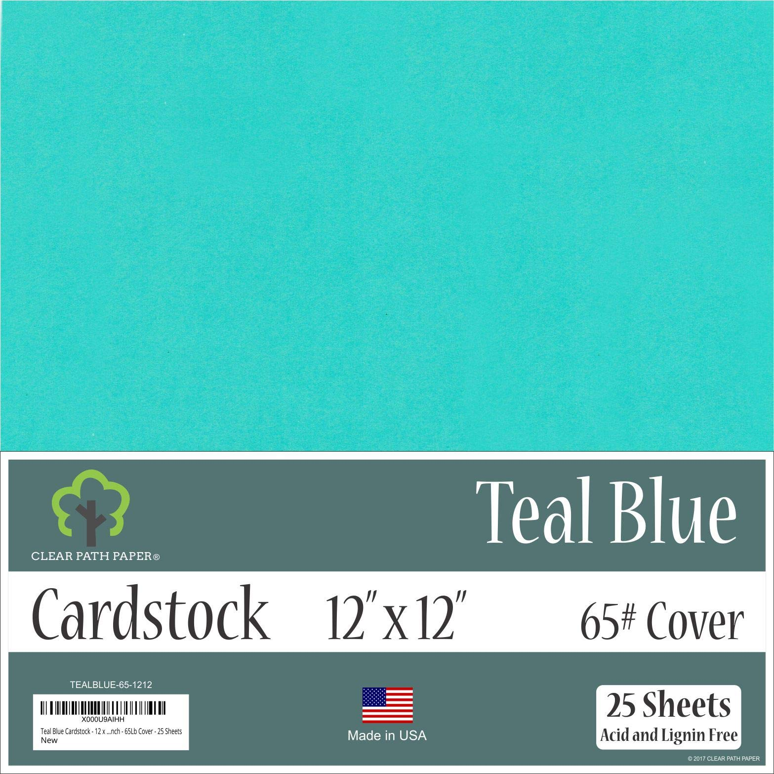 Teal Blue Cardstock - 12 x 12 inch - 65Lb Cover - 25 Sheets