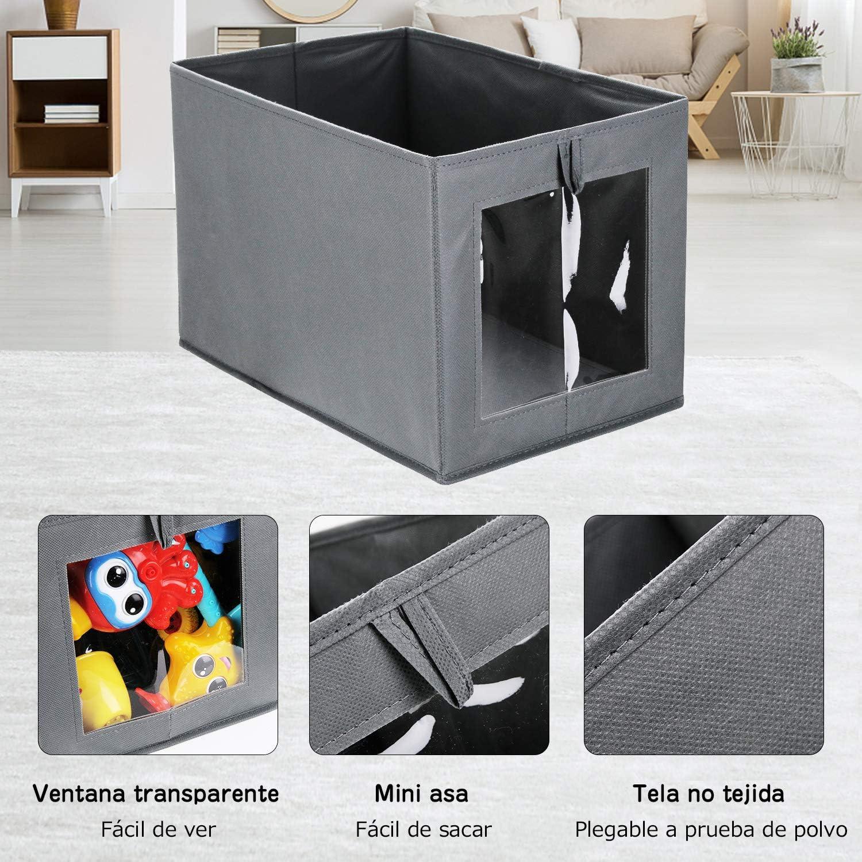 Cubos de Almacenamiento Plegable DIMJ Cajas Almacenaje Lavable Juegos de 2 Cajas Organizadoras con Tapa y Asa Cajas de Tela para Ropa Juguetes Libros