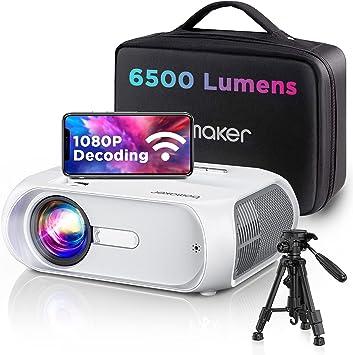 BOMAKER Proyector WiFi, 6500 Lúmenes 1080P Nativo Full HD Proyector Portatil Nativo 720P 300
