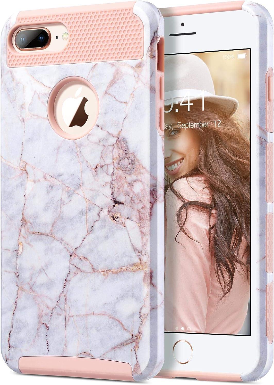 ULAK Funda iPhone 7 Plus, [Serie Colorida] Slim híbrido de Doble Capa Resistente a Prueba Golpes Dura Cubierta Trasera Shock Absorbente TPU Parachoques Caso para Apple iPhone 7 Plus - Mármol Oro Rosa