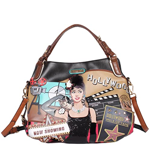 NICOLE LEE USA Para mujer Bolso de mano, impresión de estrella de Hollywood: Amazon.es: Zapatos y complementos