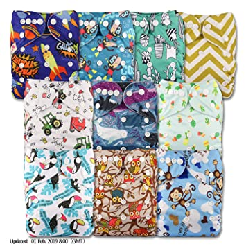 Reusable Pocket Cloth Nappy Pattern 14 with 1 Bamboo Insert Set of 1 Littles /& Bloomz Fastener: Popper