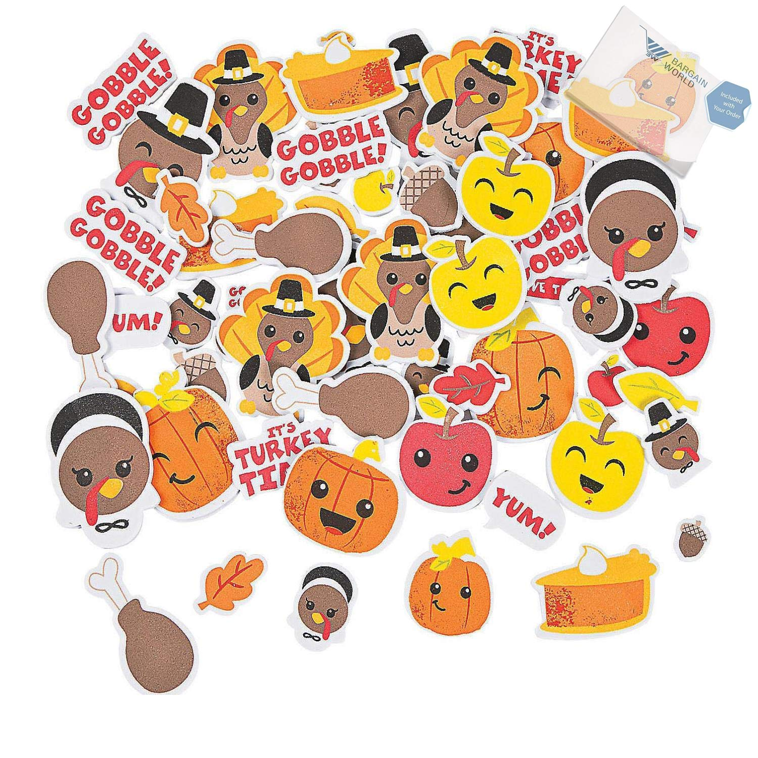 Bargain World Silly Thanksgiving Self-Adhesive Shapes (With Sticky Notes)