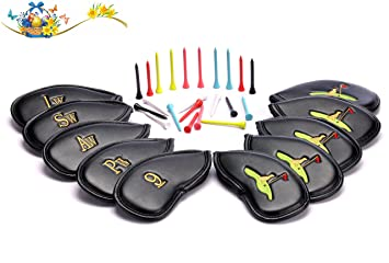 Golf Club Headcovers 30 Golf Tees Seasonal Promotion Set of 10 PU Leather  Golf Iron Club