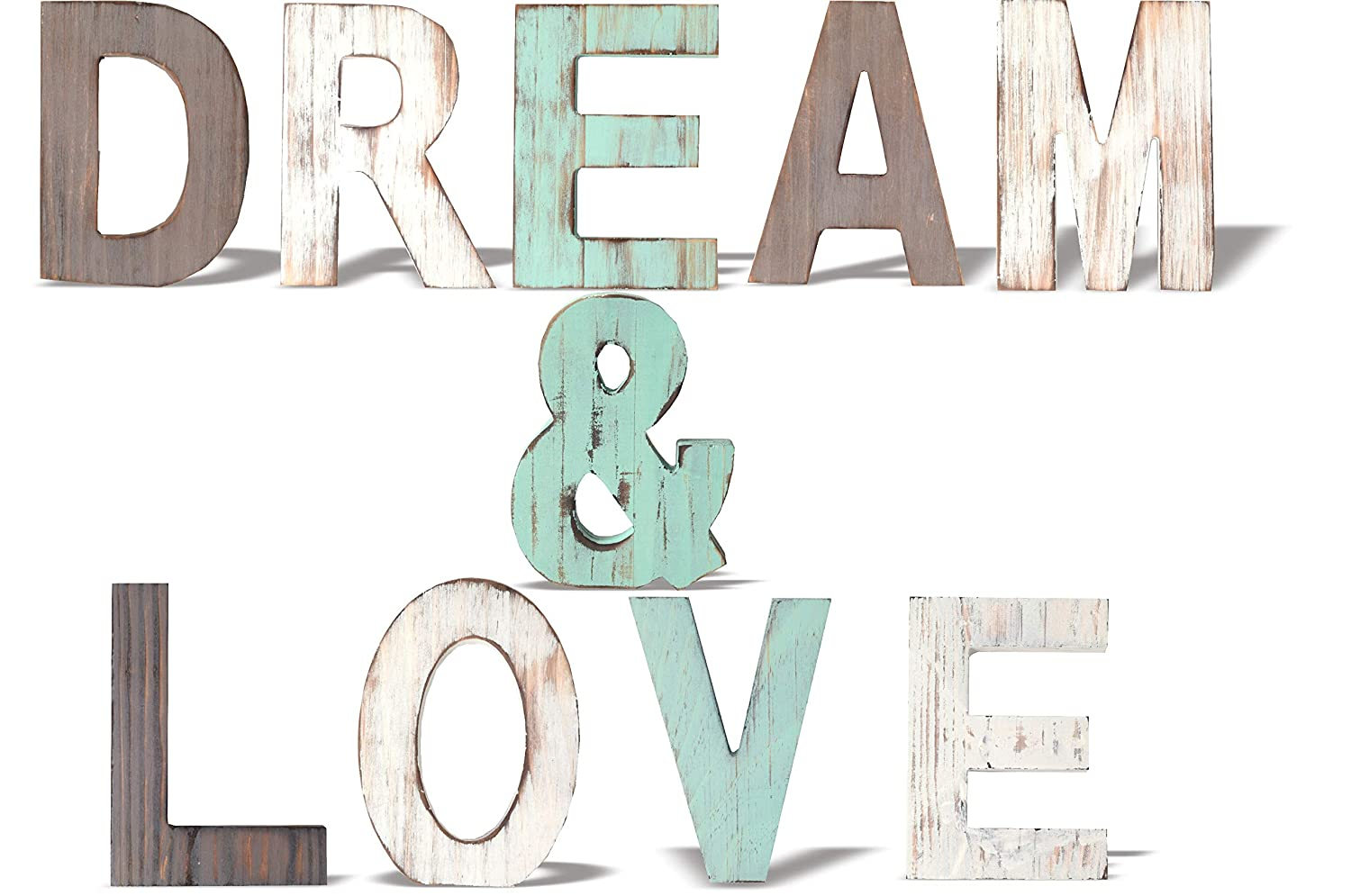 Rustic Wood Dream & Love Signs Home Décor | Freestanding Wooden Letters Cutouts for Home Décor| Multi-Color Wooden Signs |Decorative Word Signs| Multicolor Table Decor Centerpiece| for Kitchen Shelf,