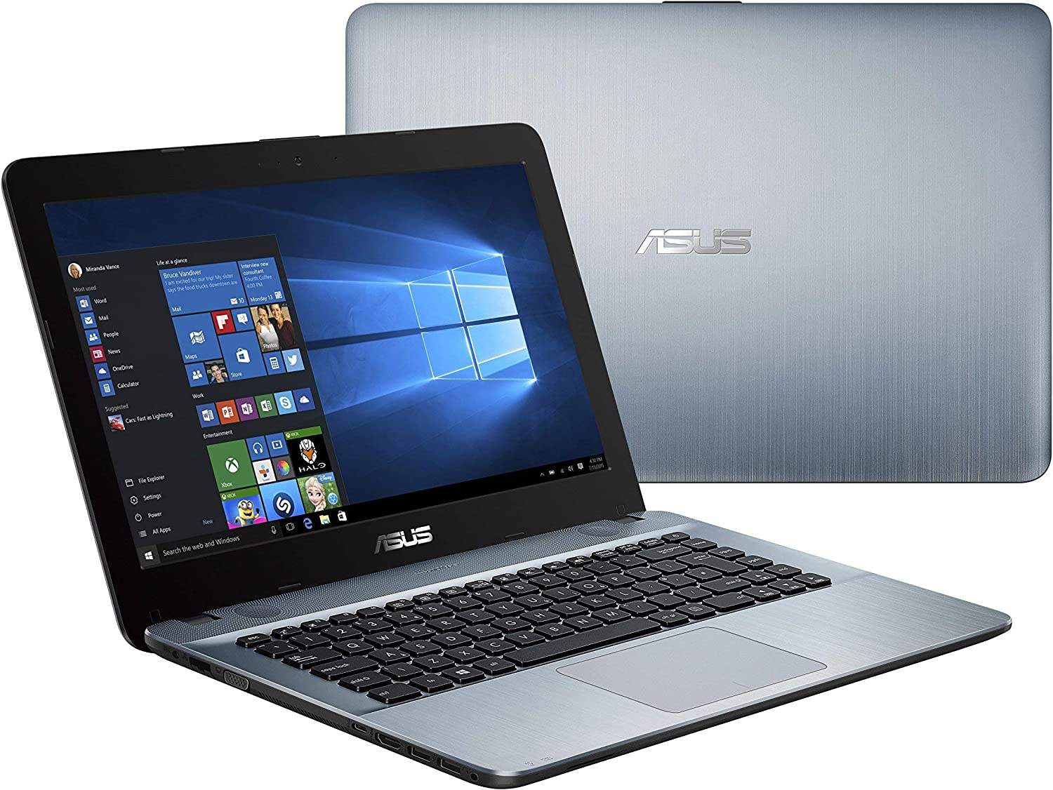 "New 2019 Flagship ASUS X441BA - 14"" HD AMD A6-9225 up to 3.0GHz, 4GB DDR4 RAM, 500GB HDD, AMD Radeon R4, WiFi, Bluetooth, USB 3.1 Type-C, HDMI, Silver Gradient, Windows 10 Home (Renewed)"