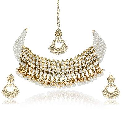 06e467aee3c60 Shining Diva Fashion Latest Gold Plated Kundan Design Pearl Choker Necklace  Jewellery Set for Women