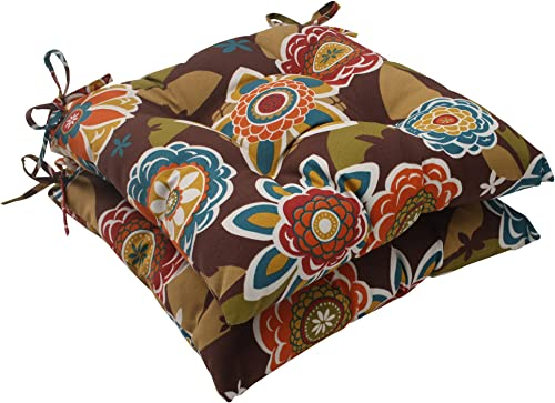 Pillow Perfect Outdoor Indoor Annie Chocolate Tufted Seat Cushions Square Back , 19 x 18.5 , Brown, 2 Pack