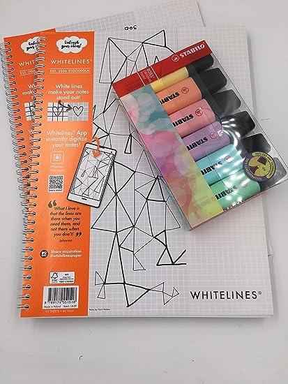 Cuaderno cuadriculado Whitelines Link, tamaño A4, 80 g/m², papel (multipaquete) con 6 rotuladores Stabilo Pastel Pack of 2 Books plus 6 Stabilo Pastel Highlighters: Amazon.es: Oficina y papelería