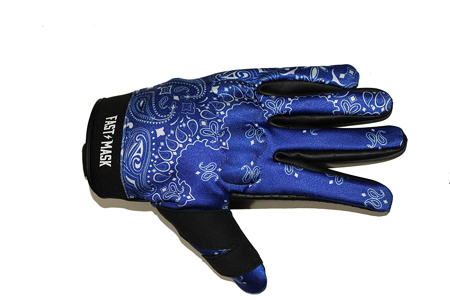 XL, RED BANDANA PRINT FAST MASK MOTORCYCLE GLOVE FULL LEATHER REINFORCED PALM AND KNUCKLE PROTECTION