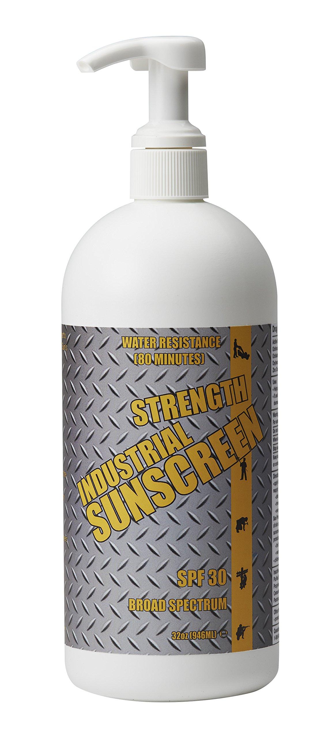 Industrial Sunscreen SPF30+ Broad Spectrum 80 Min. Water Resistance Zinc Oxide Formulation 32 oz.