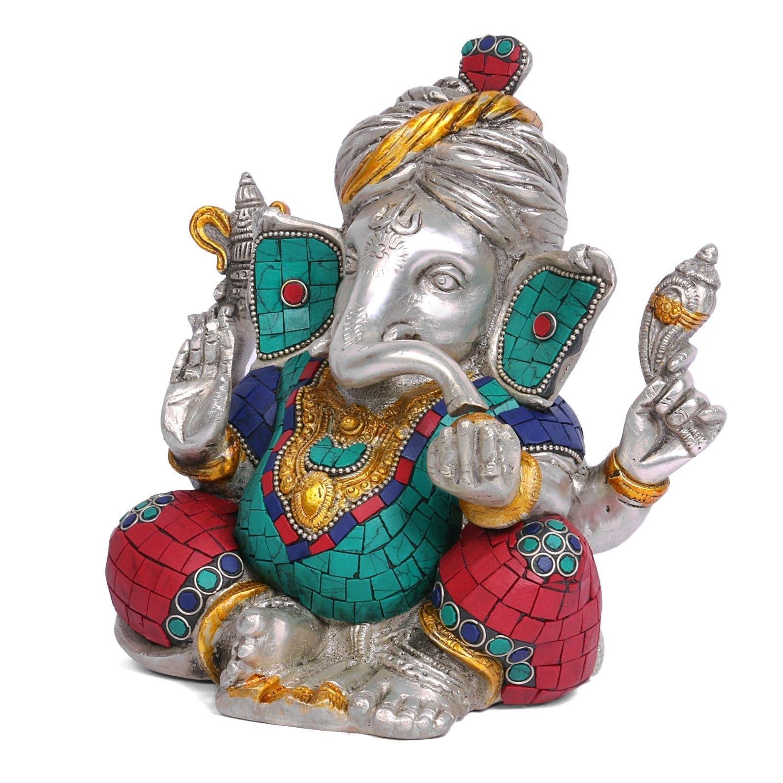 Safa Ganesh Statue Hindu God Figurine Brass Sculpture Ganesha Idol Home Decor Gift by CraftVatika (Image #2)