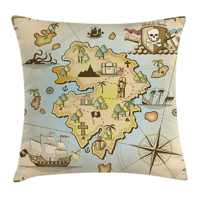Mapa de la Isla Almohada cojín Cubierta de Dibujos Animados ...