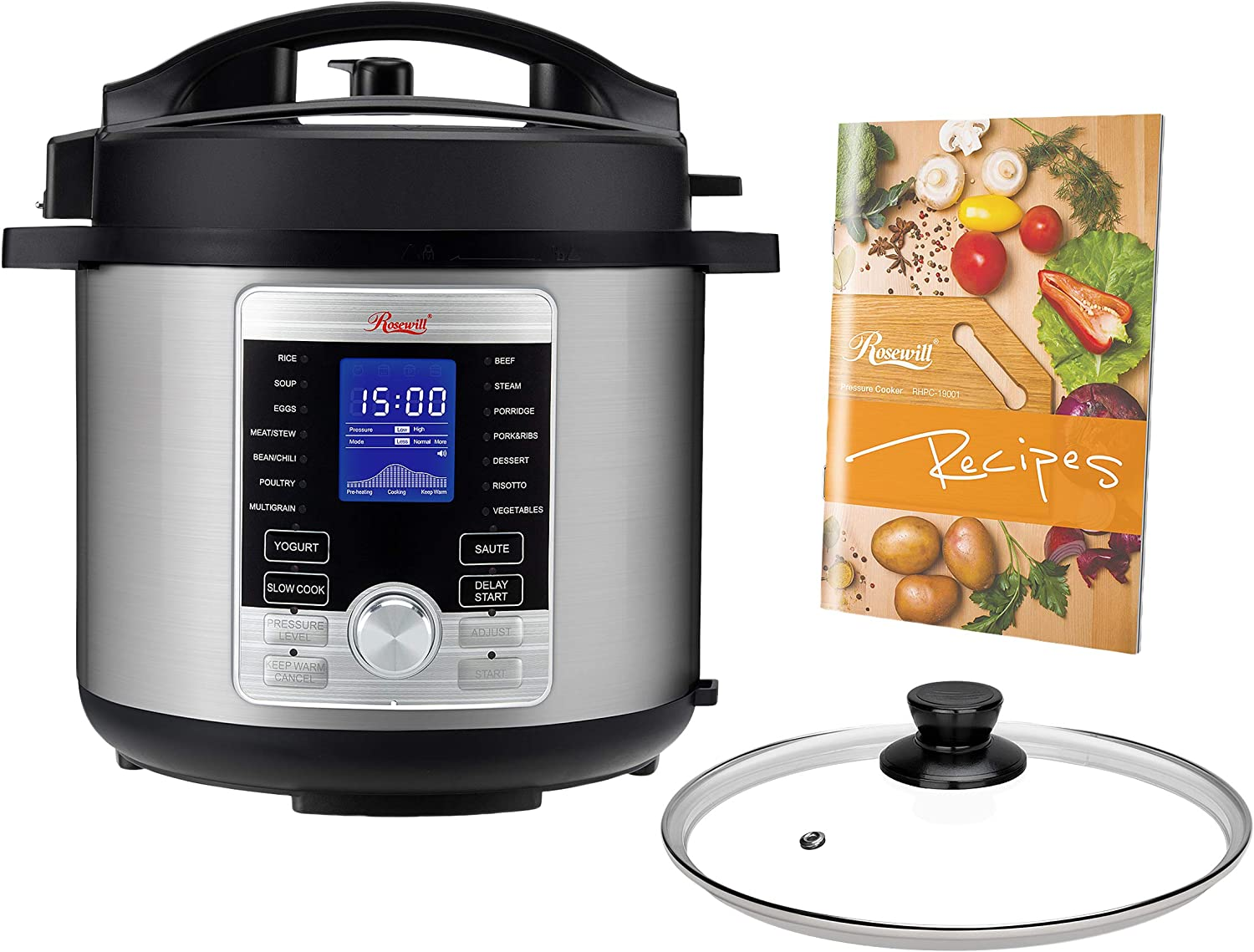 Rosewill RHPC-19001 6-QT Pressure Cooker 10-in-1 Programmable Instapot Multicooker, Slow Cooker, Rice, Yogurt, Cake, Eggs, Sauté, Vegetable Steamer, Warmer, Sterilizer w/ 17 Cooking Presets