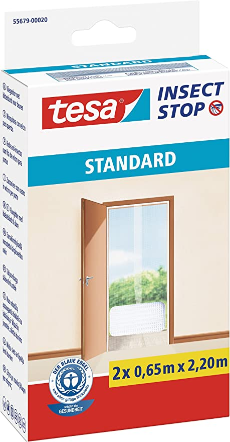 2 x 0,65 m x 2,2 m Tesa Comfort Insect Stop moustiquaire pour portes-blanc