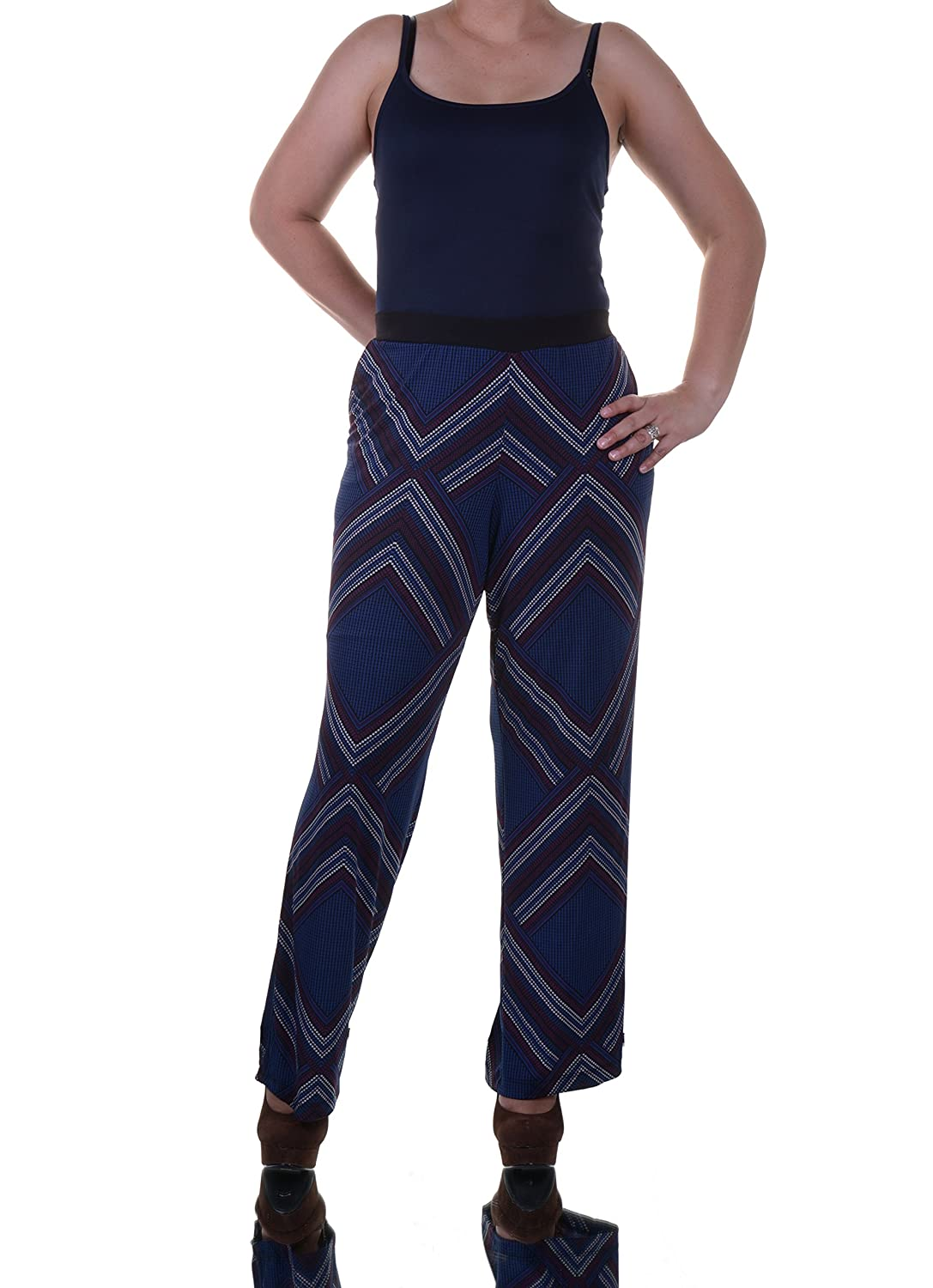 Ny Collection Printed Wide-leg Soft Pants Blue M