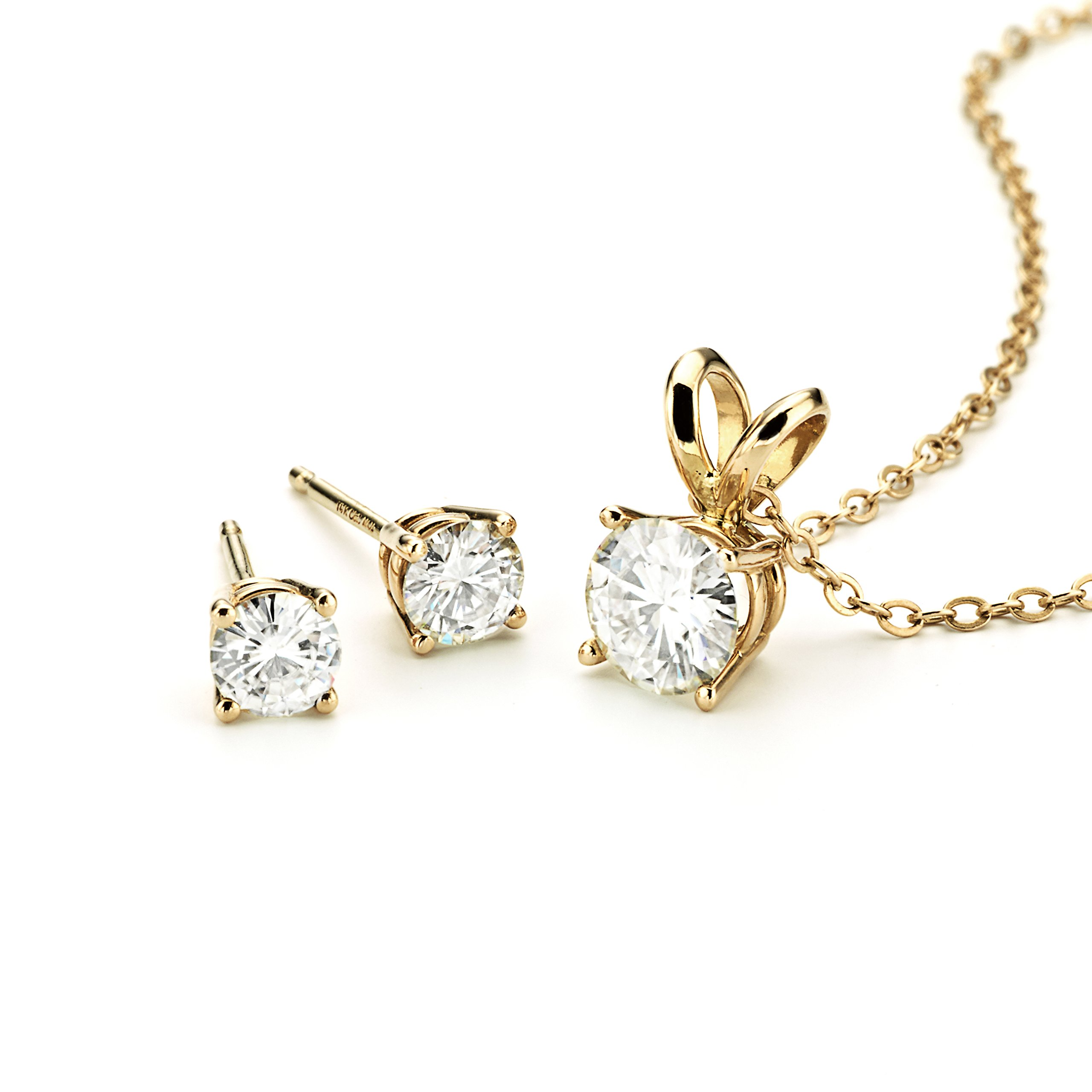 Forever Classic Yellow Gold Moissanite Earrings and Pendant Necklace Set By Charles & Colvard