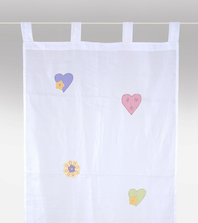 bambiente Rideau voilage 'petits coeurs' (petite version) 70x140cm voile blanc transparent - 100% coton - rideau bé bé , rideau enfant, rideau cuisine