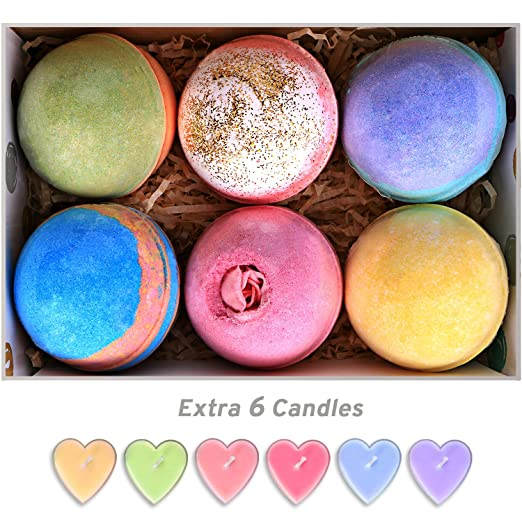 Bath Bombs Gift Set Huge 5Oz Bath Bombs, Natural Vegan and Handmade, 6 Assorted Bath Bombs Including 6 Candles