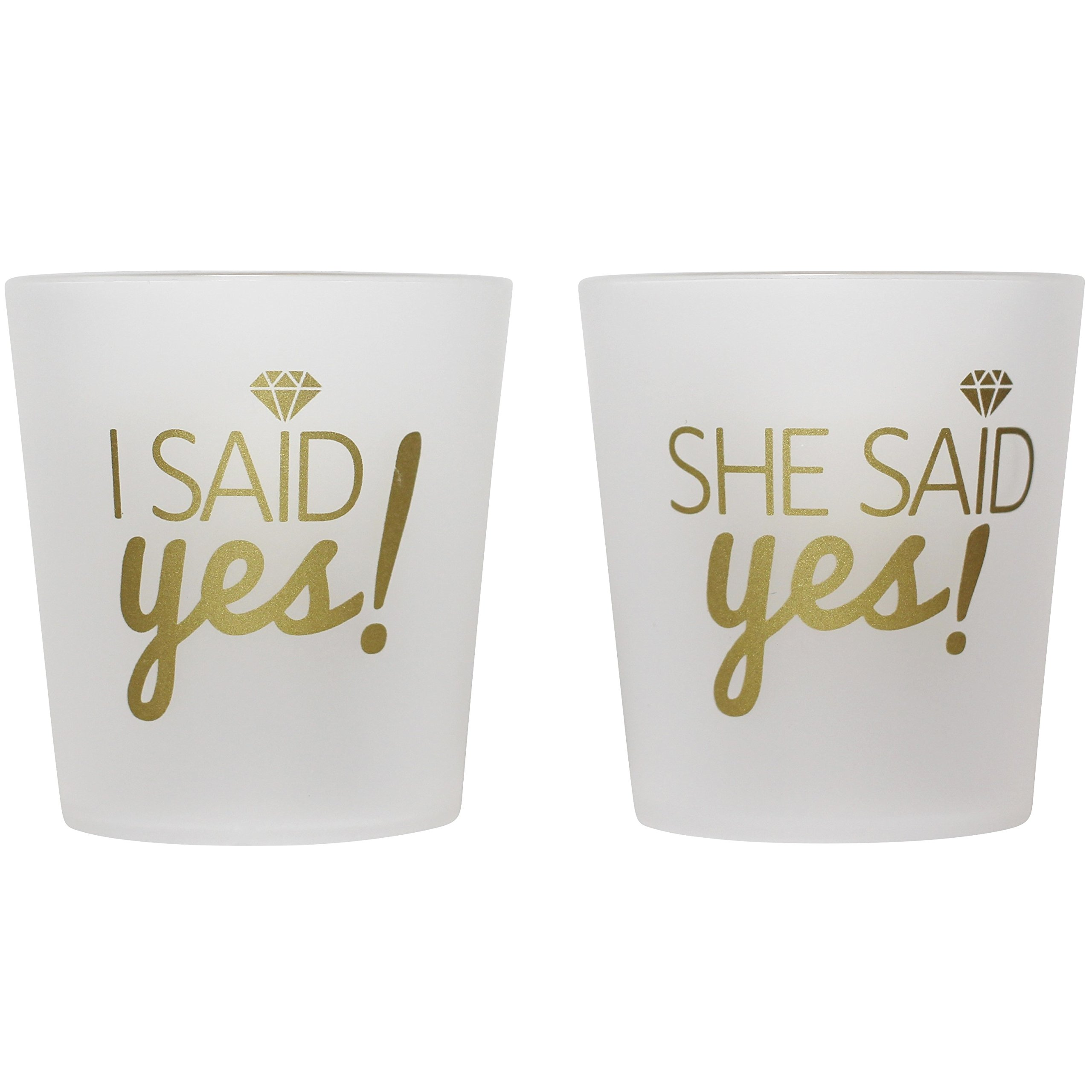 """Bridal 2 oz. Shot Glasses 12 Cups Set - 1 """"I Said Yes!"""" & 11 """"She Said Yes!"""" - Bridesmaids, Engagement, Bachelorette, Shower Party, Wedding - Props, Favors - Frosted & Gold - High Quality Guarantee by Breeze Moments"""