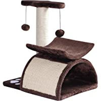 """PawHut 17"""" Cat Scratching Tree Kitty Play Activity Center Pet Bed Rotatable Top Bar with Tunnel and Toy Ball"""