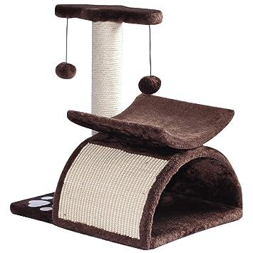 PawHut Rascador para Gatos Árbol Rascador Centro de Actividad Poste Giratorio con Bolas de Juego Plataforma Caseta 40x30x43cm Sisal Natural: Amazon.es: ...