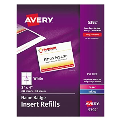 Amazon.com : Avery Name Badge Inserts, Print or Write, 3\