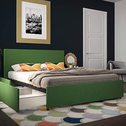 Amazon.com: Novogratz 4297939N Kelly Bed with Storage, Queen, Green ...