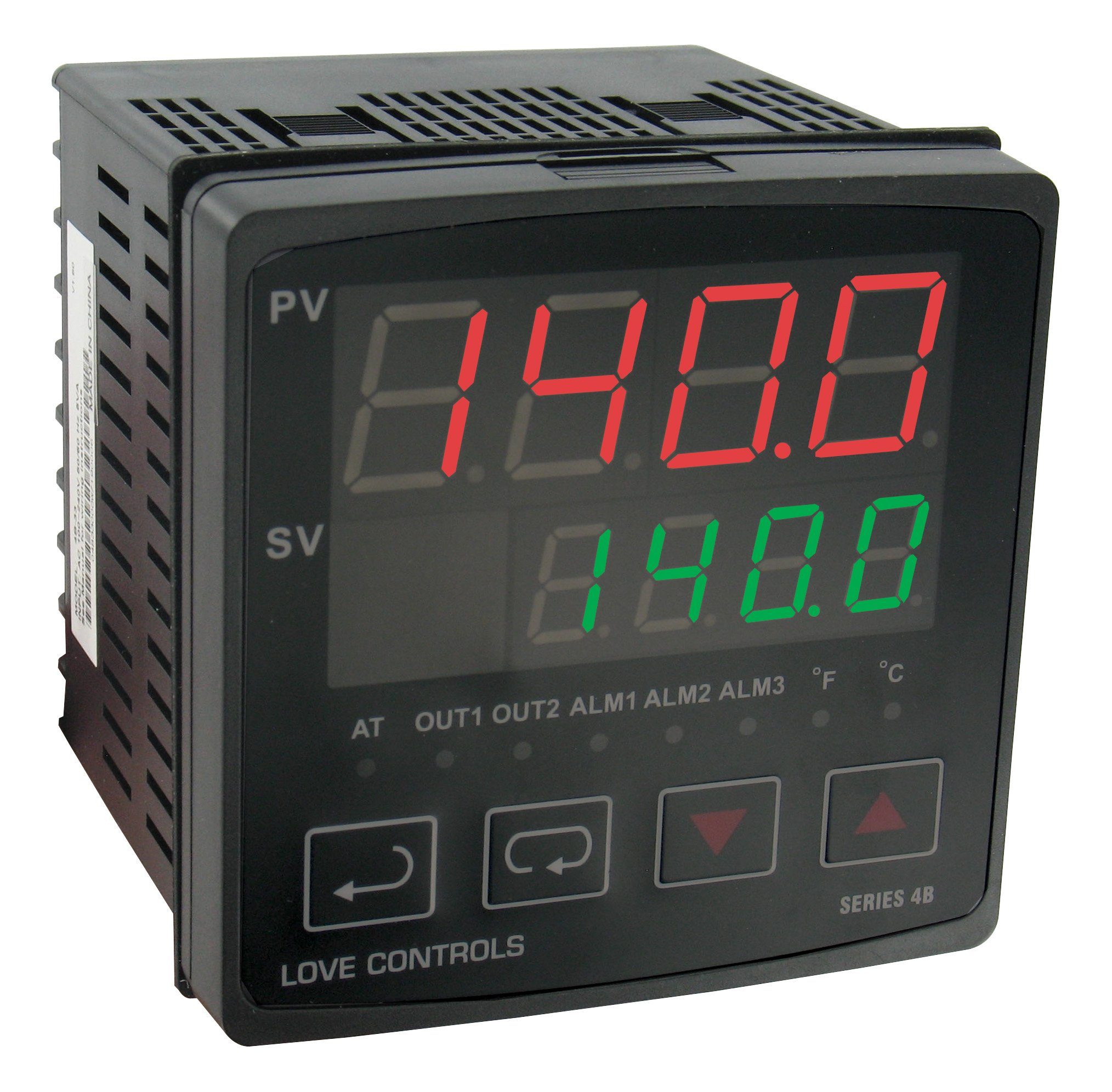 Love 1/4 DIN Temp/Proc Controller, 4B-63-LV, Linear Voltage Output 1 & Relay Output 2, Low Voltage