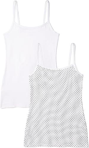 TALLA M. Marca Amazon - IRIS & LILLY Camiseta de Tirantes Body Natural para Mujer, Pack de 2