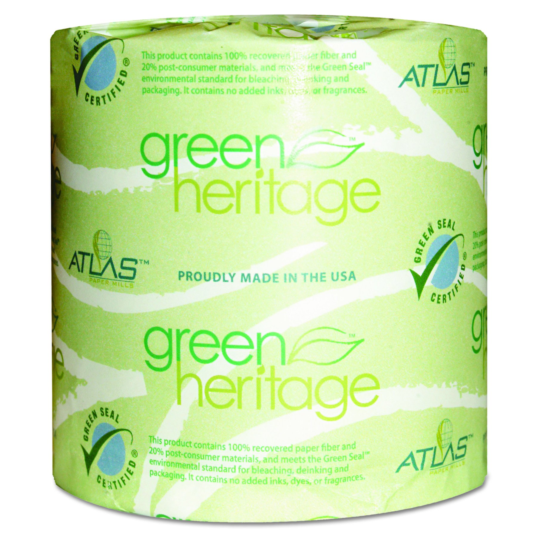 Atlas Paper Mills 280GREEN Green Heritage Toilet Tissue, 4 1/2 x 4 1/2 Sheets, 2-Ply, 500 Sheets per Roll (Case of 80 Rolls) by Green Heritage