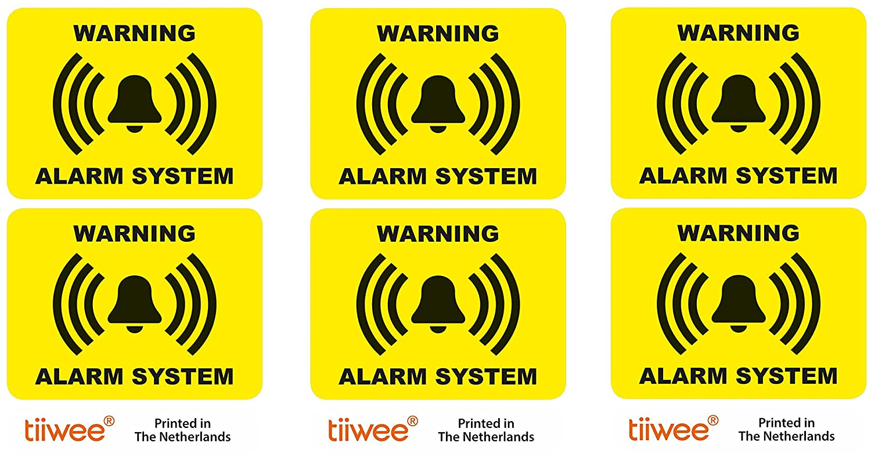 Tiiwee Etiquetas de Alarma de Seguridad para el Hogar - Amarillo - Doble protecció n UV - Extra laminadas - tamañ o 60mm x 45mm - Exterior - Set de 6 etiquetas