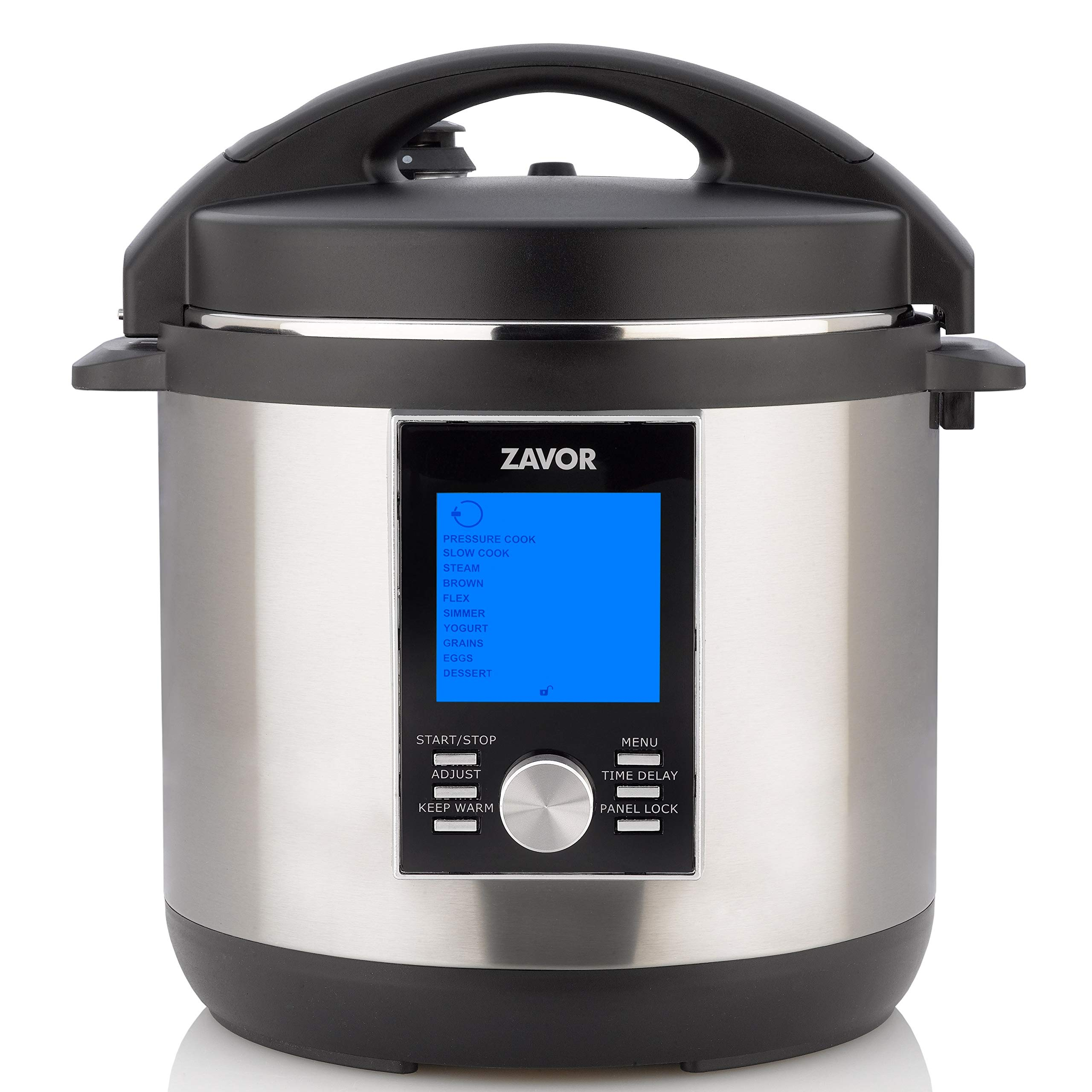 Zavor LUX LCD 6 Quart Programmable Electric Multi-Cooker: Pressure Cooker, Slow Cooker, Rice Cooker, Yogurt Maker, Steamer and more - Stainless Steel (ZSELL02)