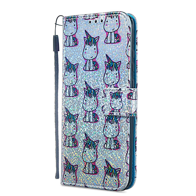 Handyh/ülle Huawei Honor 10 Lite Glitzer H/ülle Flip Case Ultrad/ünn Tasche Kartenfach Stand Function Brieftasche Etui Klapph/ülle M/ädchen HUDDU Huawei P Smart 2019 Schutzh/ülle Meerjungfrau