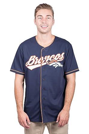 f002084d Ultra Game NFL Denver Broncos Men's Standard Baseball Jersey T Button Up  Mesh Shirt, Team Color, Navy, Large