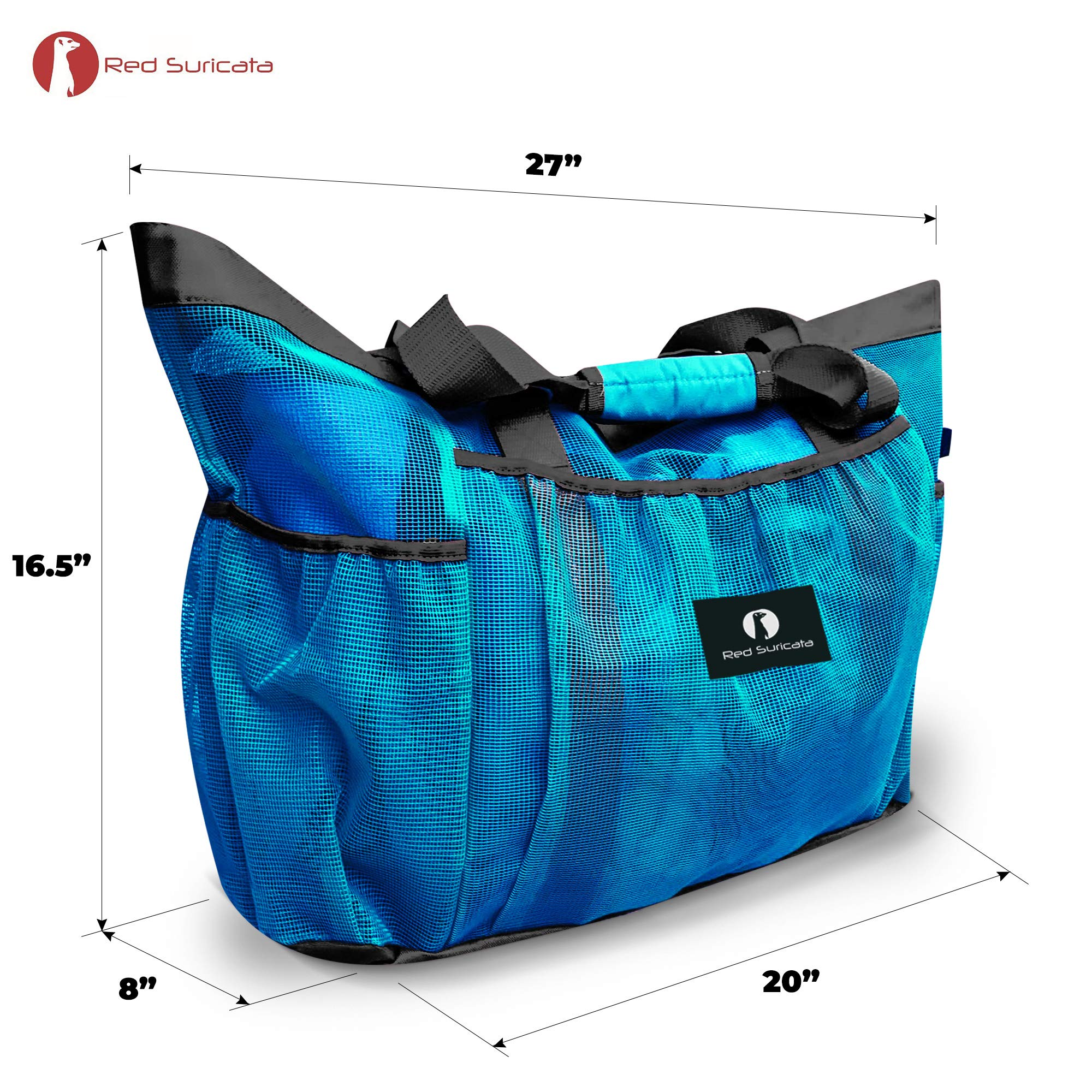 Red Suricata Large Mesh Beach Bag - Mesh Beach Tote Bag with Pockets - Beach Bags and Totes for Women with YKK Zipper & 7 Large Elastic Pockets for Beach Accessories & Beach Toys (Celeste Blue/Grey)