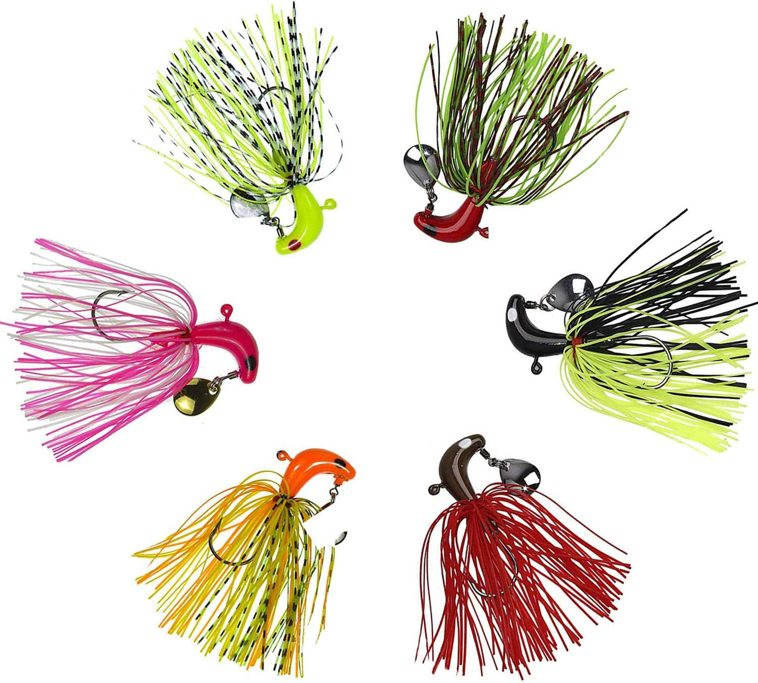 OROOTL Hard Metal Spinnerbait Fishing Lures, 6pcs Ice Fishing Jigs and Rigs Set, Lead Head Bass Skirts Swim Baits for Freshwater and Saltwater