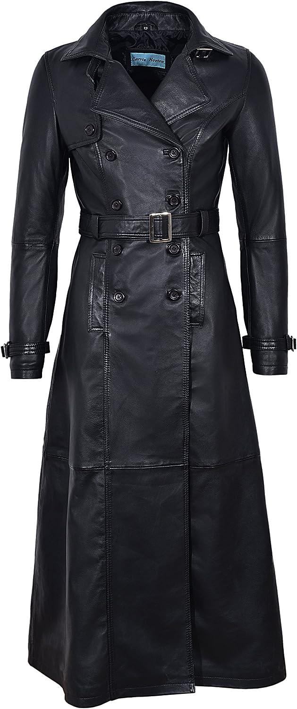 Smart Range Trench Ladies Black Full-Length Designer Real Lambskin Leather Jacket Coat 1123