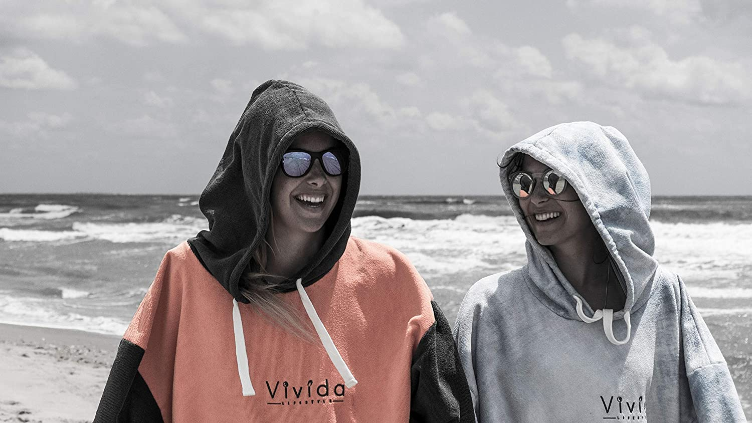Swim /& Triathlon | Original Hooded Poncho Towel Changing Robe with Quickdry Fabric and Easy Underarm Access Large Pocket with Concealed Zip Pouch for Beach Vivida Lifestyle Surf