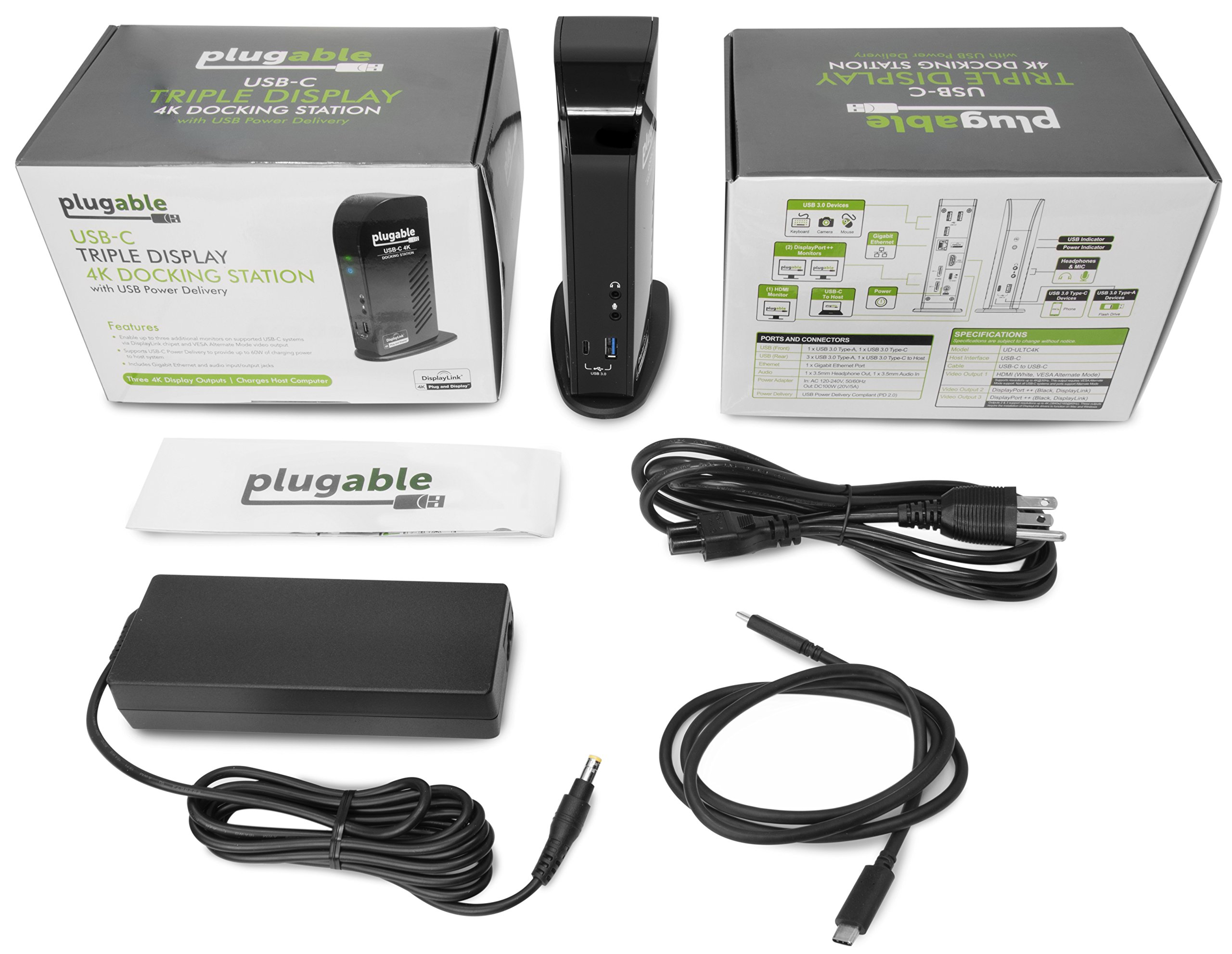 Plugable USB-C 4K Triple Display Docking Station with Charging Support for Specific Mac & Windows USB Type-C / Thunderbolt 3 Sysems (1x HDMI & 2x DisplayPort++ Outputs, 60W USB PD) by Plugable (Image #4)