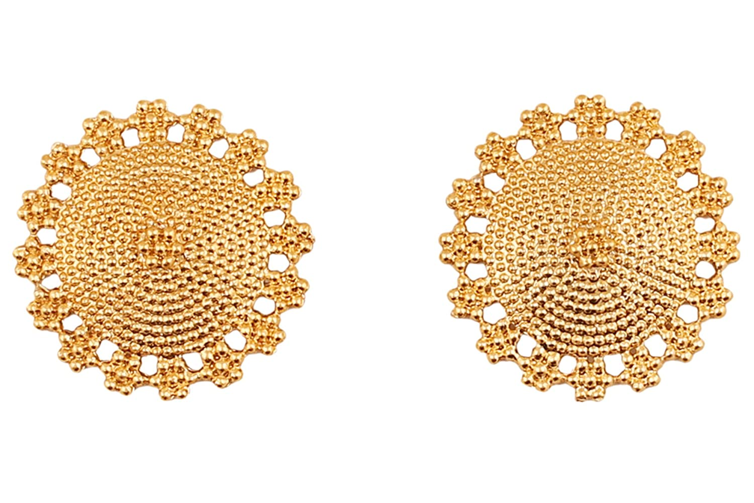 Touchstone Dramatic Mandala Round Earrings With An Intricate