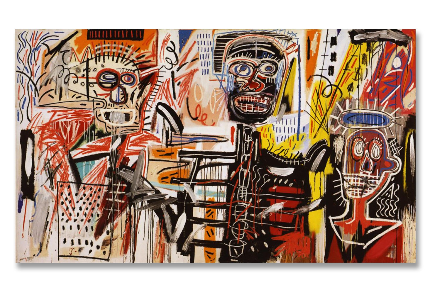 Jean-Michel Basquiat Original Graffiti Art Philistines 1982 Canvas Paintings Hand Painted Reproduction Unframed Tablet - 48X28 inch (122X71 cm) for Living Room Wall Decor To DIY Frame