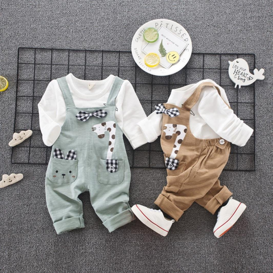 Amanod 2Pcs Toddler Infant Boys Outfits Cartoon Bowknot T-Shirt+Strap Pants