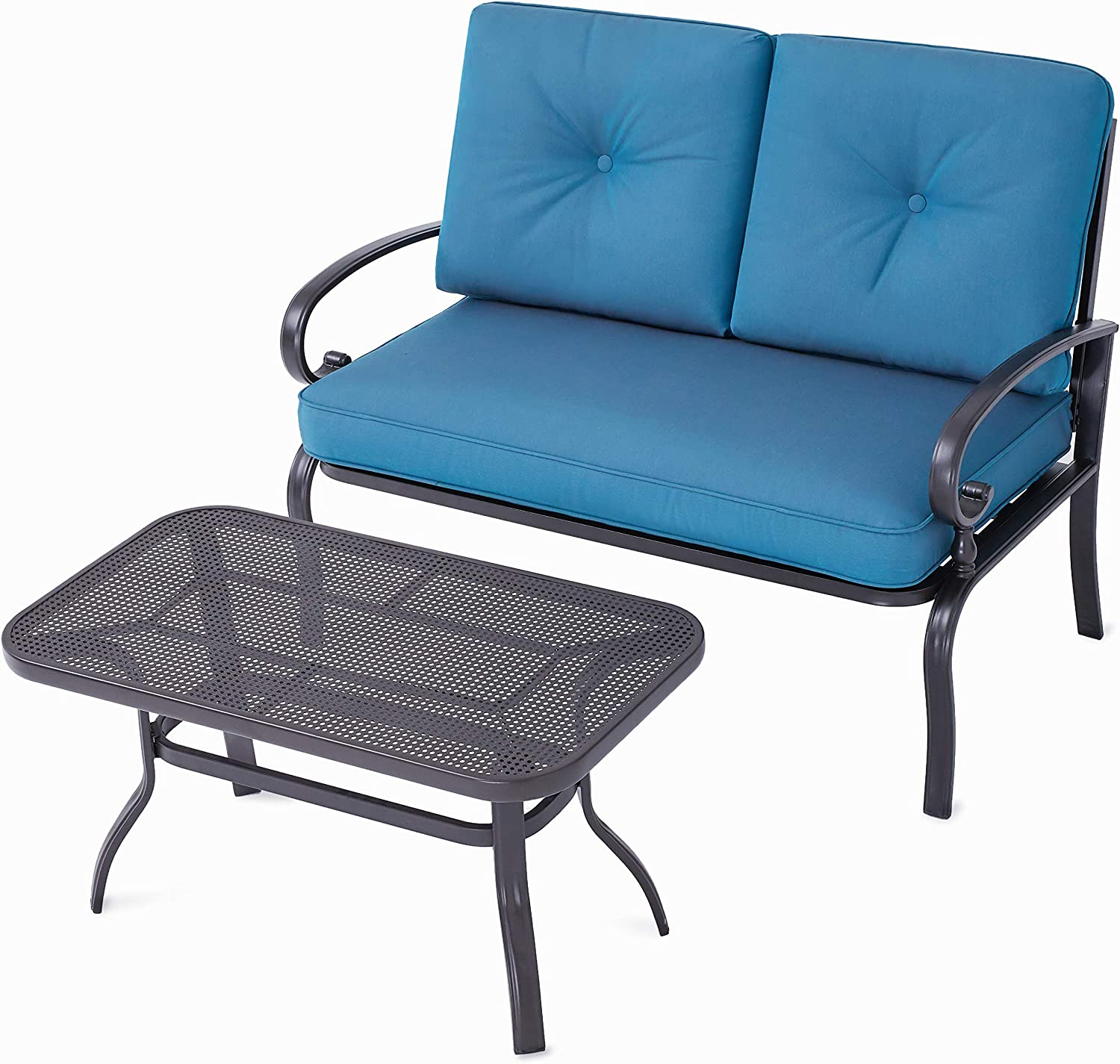 SOLAURA Patio Outdoor Furniture 2 Piece Loveseat Set Wrought Iron Frame Peacock Blue Cushions Bench Sofa with Coffee Table
