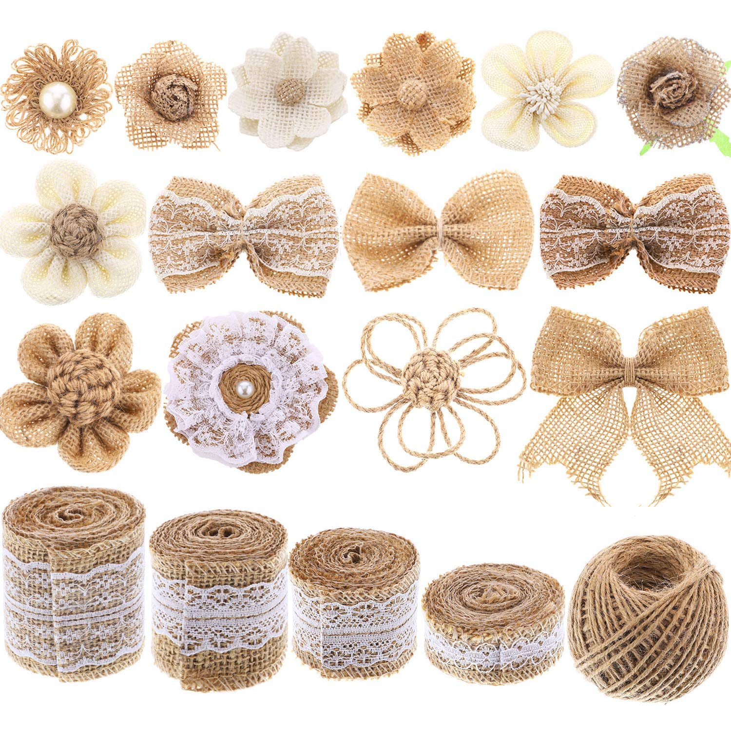 Yaomiao Natural Burlap Flowers Set, Include Lace Burlap Ribbon Roll, Handmade Rustic Burlap Flowers and Twine Ribbon for Wedding Home Embellishment by Yaomiao (Image #1)