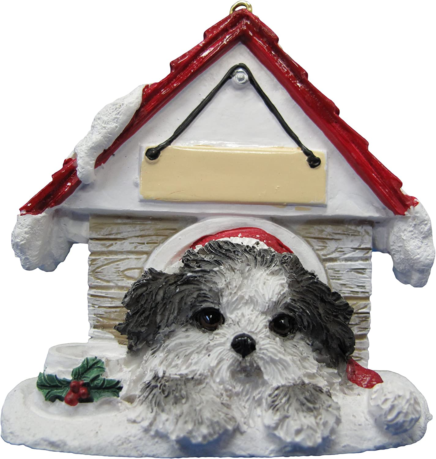 """Shih Tzu Puppycut, Black & White Ornament A Great Gift For Shih Tzu Puppycut, Black & White Owners Hand Painted and Easily Personalized """"Doghouse Ornament"""" With Magnetic Back"""