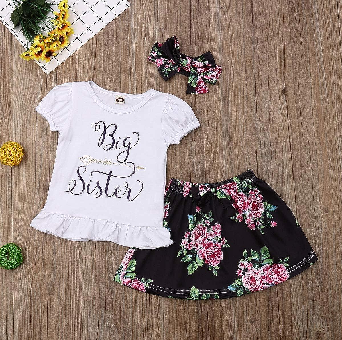 Newborn Baby Girls Little Sister Big Sister Short Sleeve Romper Floral Skirt Set Headband 3Pcs Outfit